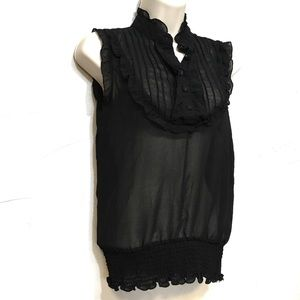 Poetry Black Victorian Style Shear Button Blouse